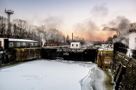 Kronstadt .Russia.January 6, 2017.Petrovsky dock in Kronstadt in St. Petersburg in the winter.
