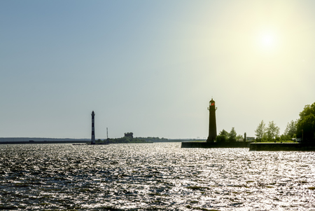 Kronstadt. Russia.8 june 2015.Lighthouses at Fort Kronshlot in the Gulf at the Kronstadt .Saint-Petersburg. Stock Photo