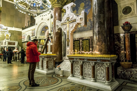 Kronstadt .Russia. January 6, 2017. The parishioners of the Kronstadt Naval Cathedral in the Christmas winter evening . Saint-Petersburg. Editorial