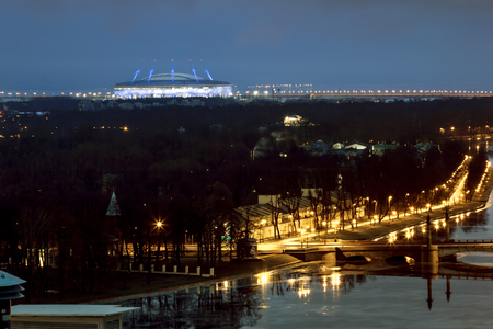 Saint-Petersburg .Russia.December 31, 2016.The view from the heights on the river Neva and the Zenit arena in the evening lights in St. Petersburg. Editorial