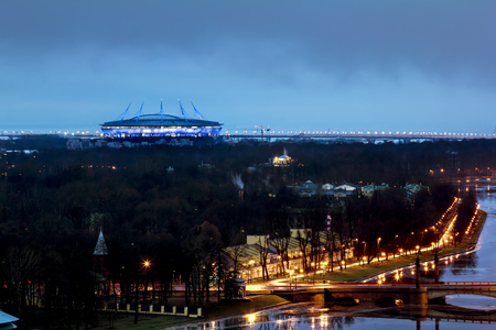 Saint-Petersburg .Russia.December 31, 2016.The view from the heights on the river Neva and the Zenit arena in the evening lights in St. Petersburg. Stock Photo