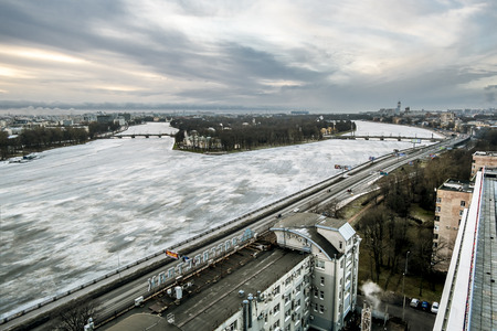 Saint-Petersburg .Russia.1 january, 2017.The view from the heights on the river Neva and Ushakovskaya the Embankment in the winter time in St. Petersburg.