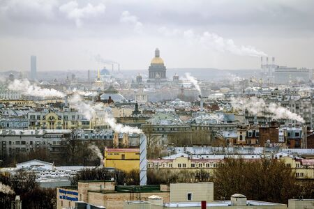 Saint-Petersburg.Russia.January 1, 2017. View the sights of the city from a height in St. Petersburg.