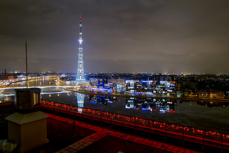 Saint-Petersburg .Russia.December 31, 2016.The view from the height on the Neva river and television tower in the evening illuminations in St. Petersburg.