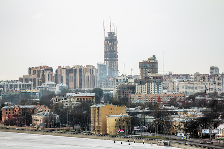 Saint-Petersburg .Russia.January 1, 2017.View of the under construction skyscraper Lakhta center in St. Petersburg.