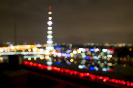 The blurred image of the urban landscape in the form of Colorful lights bokeh
