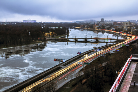 Saint-Petersburg .Russia.December 31, 2016.The view from the heights on the river Neva and Ushakovskaya the Embankment in the evening lights in St. Petersburg.