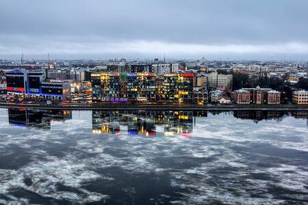 Saint-Petersburg .Russia.December 31, 2016.The view from the height of the modern building on the Aptekarskaya embankment in St. Petersburg.