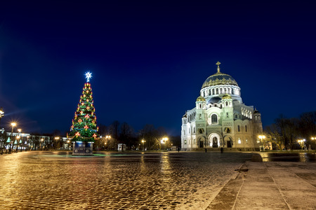 Kronstadt .Russia. January 6, 2017. View of the Kronstadt Naval Cathedral in the Christmas winter evening . Saint-Petersburg. Stock Photo