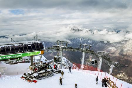 Sochi.Russia.Jan 6, 2011.ski lift in Sochi Krasnaya Polyana on the background of beautiful mountain scenery