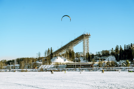 Kavgolovo .Russia.January 22, 2017.Ski and jump in the educational training center in Kavgolovo in Saint-Petersburg in winter.