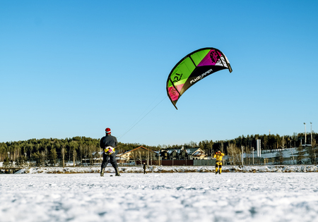 snowkiting: Kavgolovo.Russia.22 Jan 2017.Athletes engaged in Snowkiting on the ice lake Khepoyarvi in Kavgolovo Leningrad oblast Editorial