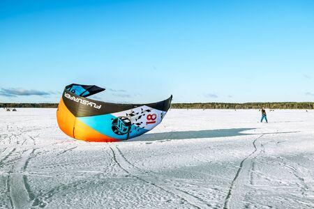 Kavgolovo.Russia.22 Jan 2017.Athletes engaged in Snowkiting on the ice lake Khepoyarvi in Kavgolovo Leningrad oblast Editorial