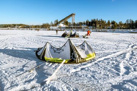 kiteboarding: Kavgolovo.Russia.22 Jan 2017.Athletes engaged in Snowkiting on the ice lake Khepoyarvi in Kavgolovo Leningrad oblast Editorial