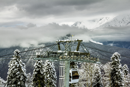 Sochi.Russia.Jan 6, 2011.ski lift in Sochi Krasnaya Polyana on the background of beautiful mountain scenery
