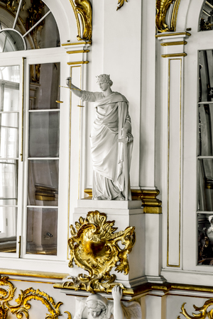 17 April 2016. Saint-Petersburg. The statue of the Goddess of justice on the Jordan staircase in the Hermitage in St. Petersburg.Russia. Editöryel