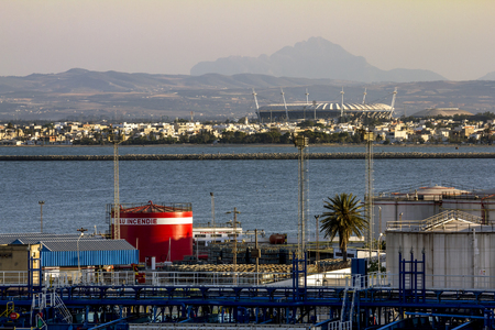 Tunisia.Tunisia.May 25, 2017.Views of the surrounding area and the port of La Gullet in Tunisia at sunset