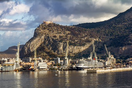 26: Palermo.Italy.May 26, 2017.A view of the port and Castello utveggio on mount Pellegrino in Palermo. Sicily Editorial