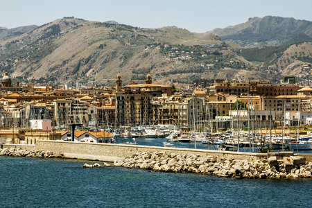 Palermo.Italy.27 may 2017.A view of the port and city of Palermo from the sea. Sicily Editorial