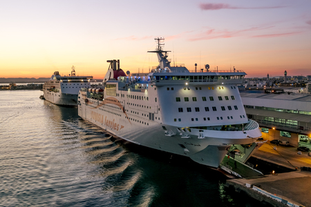 Tunisia.Tunisia.May 25, 2017. ships and ferries in the port of La Gullet in Tunisia at sunset.
