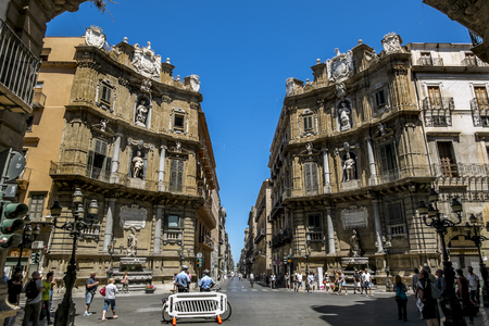 Palermo.Italy.May 26, 2017.A view of the Piazza Quattro Canti in Palermo . Sicily