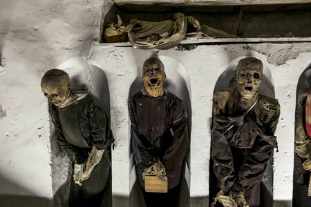 Palermo.Italy.May 26, 2017.Burial in the catacombs of the Capuchins in Palermo . Sicily Editorial