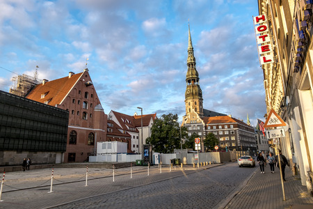 Riga .Latvia.7 September 2017.Views of streets and squares in the historic centre of Riga in Latvia Editorial