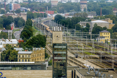 Riga .Latvia.7 September 2017.View of the city and the train station in Riga from a height.