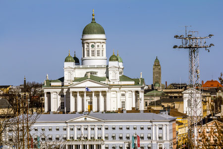 Helsinki. Finland.April 7, 2018.The  St. Nicholas Cathedral in Helsinki.Finland. Stock Photo