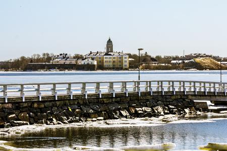 Helsinki. Finland.April 7, 2018.Suomenlinna Maritime fortress on the Islands in the harbour of Helsinki.Finland.