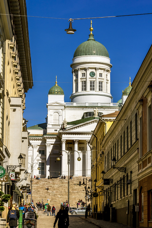 Helsinki. Finland.April 7, 2018.The  St. Nicholas Cathedral in Helsinki.Finland. Editorial