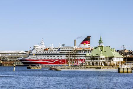 Helsinki. Finland.April 7, 2018.The  Viking line ferry from the pier in the port of Helsinki.Finland.