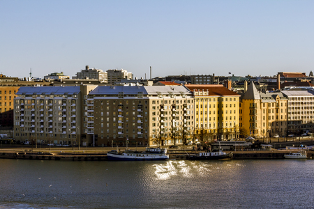 Helsinki. Finland.April 7, 2018.View of the embankment of the Western port in Helsinki. Stock Photo