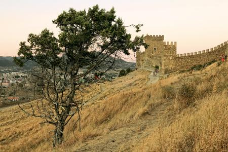 View of the Genoese fortress in Sudak Crimea, Ukraine. Stock Photo