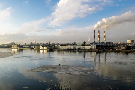 Saint-Petersburg.Russia.6 April 2018.View of the embankment and the port and the city on Vasilevsky island
