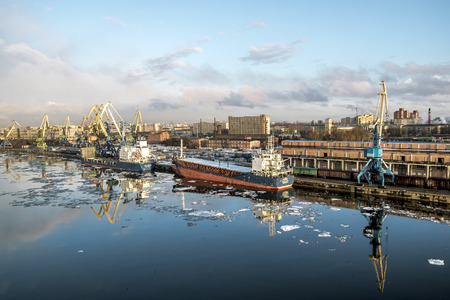 Saint-Petersburg.Russia.6 April 2018. Cranes  and ships in the marine cargo port of Saint-Petersburg