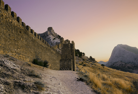 Crimea. Ukraine. August 26, 2011. View of the Genoese fortress in Sudak at sunset