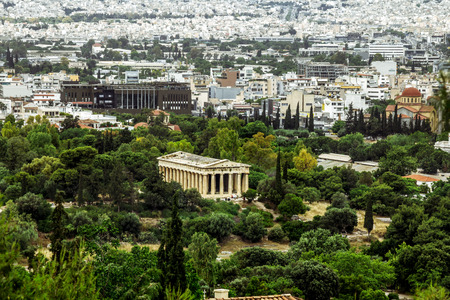 Athens.Greece.May 31, 2019. High view of the Temple of Hephaestus and the houses and roofs of Athens in Greece.