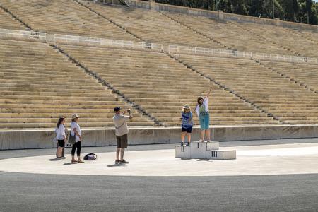 Athens.Greece.May 31, 2019. Tourists are photographed on the podium at the Panathenaic stadium. 新聞圖片