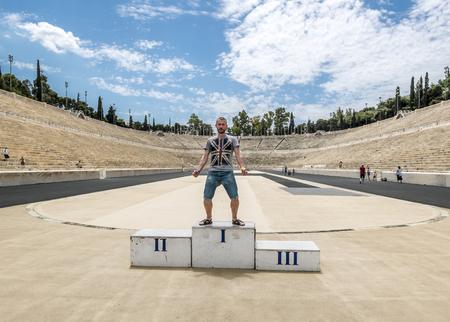 Athens.Greece.May 31, 2019. Tourist are photographed on the podium at the Panathenaic stadium.