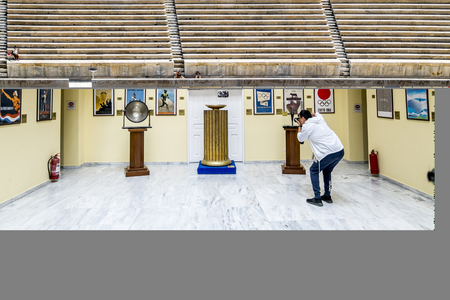 Athens.Greece.May 31, 2019. Exposition of the Museum of the Olympic games at the Panathenaic stadium.