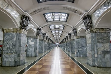 Saint-Petersburg.Russia.July 3, 2019.The interior of the metro station Kirovskiy zavod in St. Petersburg.