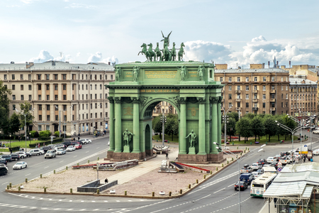 Saint-Petersburg.Russia.July 16 2019.Narva triumphal arch on the Stachek square .