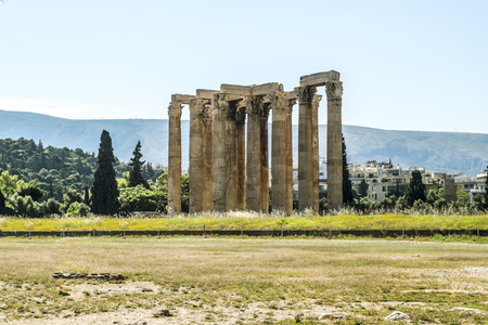 Athens.Greece.May 31, 2019. Panorama of Athens and the columns of the temple of  Zeus Olympian. Editorial