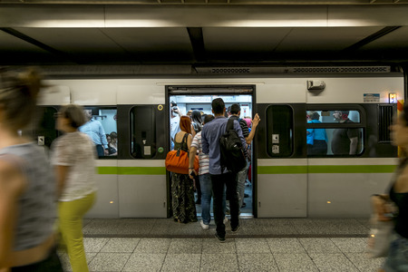 Athens.Greece.May 31, 2019.Passengers Board a train at the Acropolis metro station Platform in Athens.