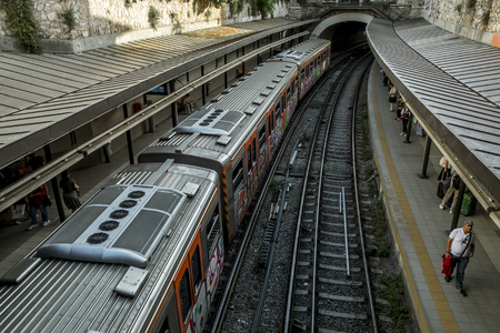 Athens.Greece.May 31, 2019.Train at the Monastiraki metro station Platform in Athens. Editorial