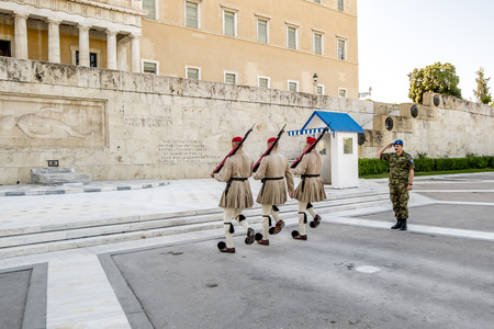 Athens.Greece.May 31, 2019. The ceremony of changing the guard of honor at the Greek Parliament building on Syntagma square in Athens.