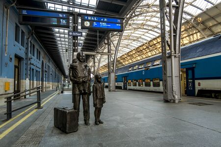 Prague.Czech Republic.August 27, 2019. Monument to the Briton Nicholas Winton at the Main railway station in Prague.