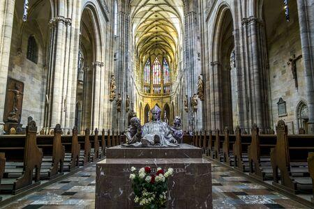 Prague.Czech Republic.August 30, 2019.Interior of St. Vitus Cathedral in Prague Archivio Fotografico - 138741068