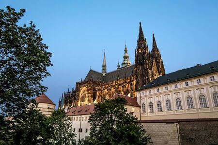 Prague.Czech Republic.August 30, 2019. View of St. Vitus Cathedral in Prague Castle in Prague in evening. Archivio Fotografico - 138740853